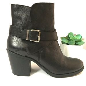 BCBG Black Leather Boots with Buckle Strap